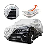 Tecoom Multi-Protection Door Shape Zipper Design Waterproof UV-Proof Windproof Car Cover with Storage and Lock for All Weather Indoor Outdoor Fit 196-210 inches SUV