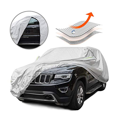 (Tecoom Multi-Protection Door Shape Zipper Design Waterproof UV-Proof Windproof Car Cover with Storage and Lock for All Weather Indoor Outdoor Fit 180-195 inches)