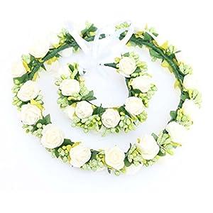 Wedding Bridal EVA Foam Rose Flowers Crown Headband Flower Girl Headpiece Artificial Berry Circlet Fairy Garland Halo Hippie for Teens Brides Bridemaid Girls White 40