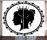 Lunarable Princess Curtains, Antique Victorian Picture Frame Black Silhouette Noble Lady Woman Accessories, Living Room Bedroom Window Drapes 2 Panel Set, 108 W X 63 L inches, Black White