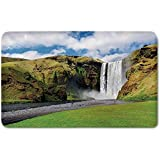 Memory Foam Bath Mat,Waterfall,Waterfall Flowing Over High Cliffs Northern America Scenic Nature PhotoPlush Wanderlust Bathroom Decor Mat Rug Carpet with Anti-Slip Backing,Green Blue White