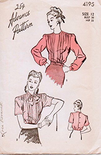 Advance 4195 Vintage Blouse with Pintucks Sewing Pattern Misses Size 12 Bust 33