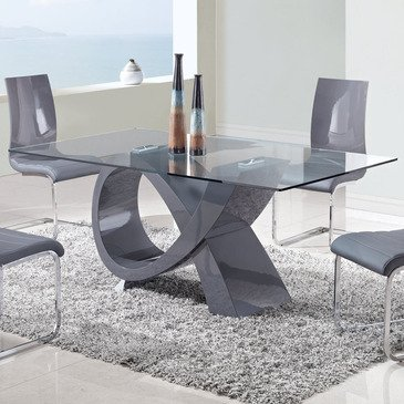 Global Furniture USA D989DT-Global Furniture Piece Dining Table Grey High Gloss Global Furniture Contemporary Chair