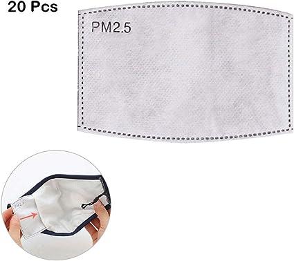 100 filtri intercambiabili PM 2,5 al carbone attivo 5 strati di filtro anti-nebbia