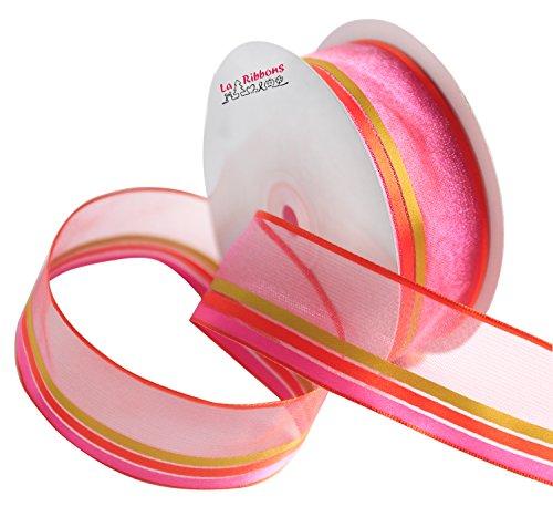 Laribbons Organza Wired Edge Craft Ribbon 1-1/2 Inch by 25 yard/spool ( Fuschia )