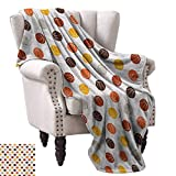 """Basketball Living Room/Bedroom Warm Blanket Ball Pattern in Earthen Tones Competition Sports Professional League Game Player Traveling,Hiking,Camping,Full Queen,TV,Cabin 30""""Wx50""""L Multicolor"""