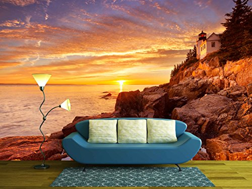 wall26 - the Bass Harbor Head Lighthouse in Acadia National Park, Maine, Usa. Photographed During a Spectacular Sunset. - Removable Wall Mural | Self-adhesive Large Wallpaper - 100x144 - Harbor National Images