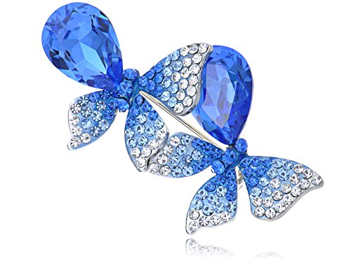 - Alilang Silvery Tone Sapphire Blue Colored Rhinestones Ombre Butterfly Brooch Pin