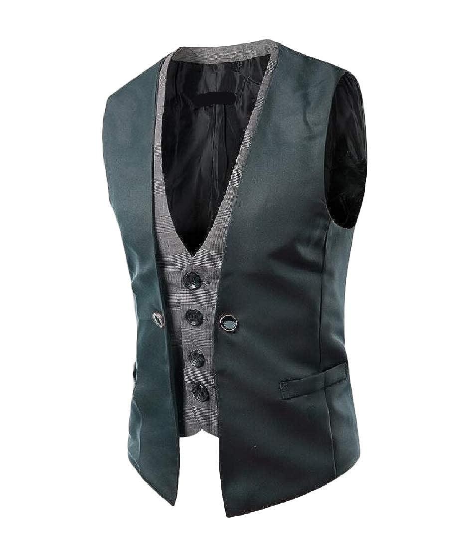 Etecredpow Men Formal Slim Fit Single Breasted Spliced Plaid Vest