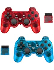 BicycleStore 2 Pack Wireless Controller for PS2 Playstation 2.4G Gamepad Joystick Remote with Shock Vibration Sensitive Control Wireless Receivers (ClearBlue and ClearRed).