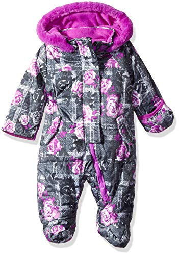 Wippette Baby Girls Floral Snowsuit Pram, Charcoal, 6/9M