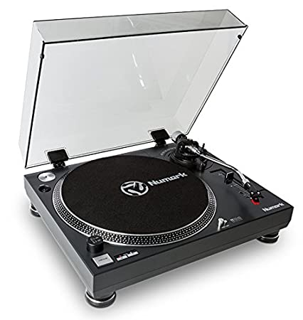 Numark TT250 USB - Plato de DJ profesional de tracción directa con cápsula magnética, plato de aluminio, brazo con forma de S y software de conversión