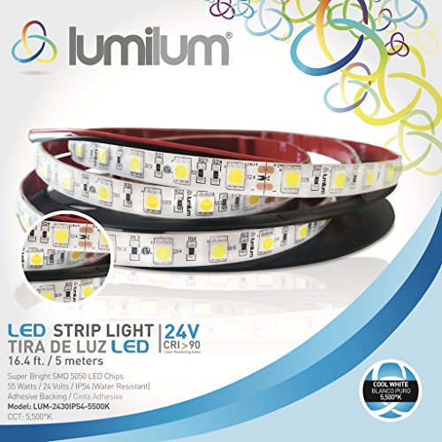 Lumilum 16,4ft (5m) LED Strip Light 24V Low Voltage Series (5500K Cool White) SMD 5050 Chips, 95 High CRI, Fully Certified, 50,000 Hours Tested, Dimmable, IP54 Rated, Indoor and Outdoor Use