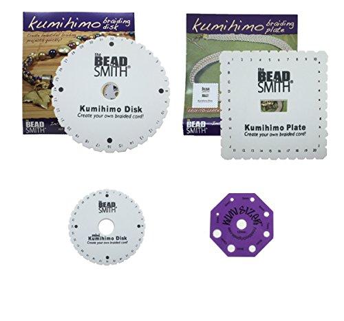 Kumihimo Disks Three Different Looms (Round, Square Plate, Mini) PLUS Kumisizer