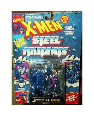 Apocalypse vs Archangel Figures - 1994 - X-Men Steel Mutants - Die Cast Metal - w/ Mutant Collector Stand - Poseable - Detailed - Toy Biz - Marvel - Limited Edition - Mint - (Poseable Diecast Toy)