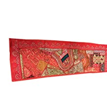 "Mogul Ethnic Table Runner Red Hand Embroidered Wall Tapestry Home Décor Idea 60""x18""."