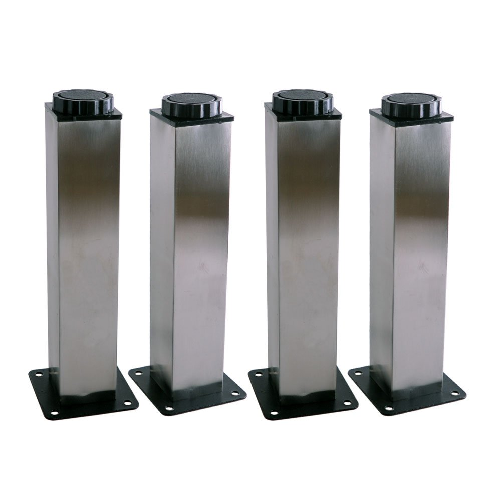 Furniture Leg,Ideaker 38x200mm Square Stainless Steel Kitchen Adjustable Feet Set of 4