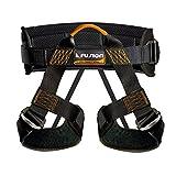 Fusion Climb Centaur Padded Half Body Harness Black with Elastic Strap Climbing Gym Rope, Black/Orange