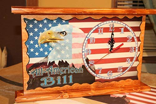 (American Eagle USA Flag Clock Personalized Wall or Mantel)
