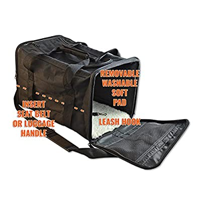 PetsN'all Soft-Sided Pet Carrier Bag - Black, Airline Approved