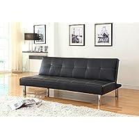 NHI Express Issac Pu Futon Sofa, Black