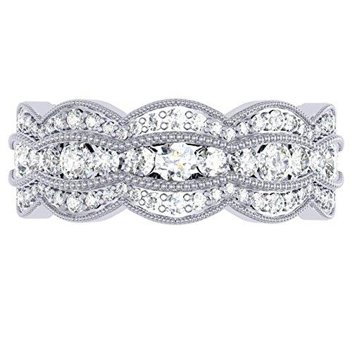 Dazzlingrock Collection 1.75 Carat (ctw) 14K Round Diamond Millgrain Eternity Wedding Band 2 CT, White Gold, Size 7 (Diamond 2ct Band Eternity Tw)
