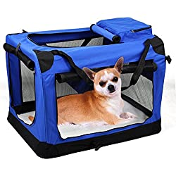 Yaheetech XXXL Large New Soft Sided Dog House Style Pet Carrier Crate Fabric Dog Crate Puppy Carrier Cat Travel Cage Carry Pet Bag Blue