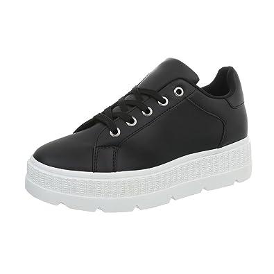 Ital-Design Sneakers Low Damen-Schuhe Schnürsenkel Freizeitschuhe Weiß, Gr 40, Xf823-36-