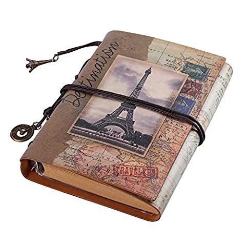 ToiM Retro Soft PU Leather Cover Loose-Leaf Journals Travelers' Notebook Leather Writing Journal Notebook Sketchbook (Eiffel (Eiffel Tower Dvd Tower)