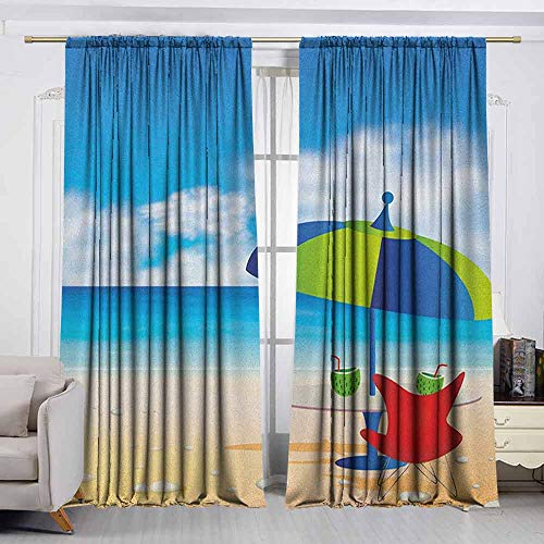 (VIVIDX Bedroom Curtains,Beach,Relaxing Scene with Umbrella and Drinks Open Skyline Holiday Destination Summer Time,Thermal Insulated Light Blocking Drapes for Bedroom,W72x72L Inches Multicolor)