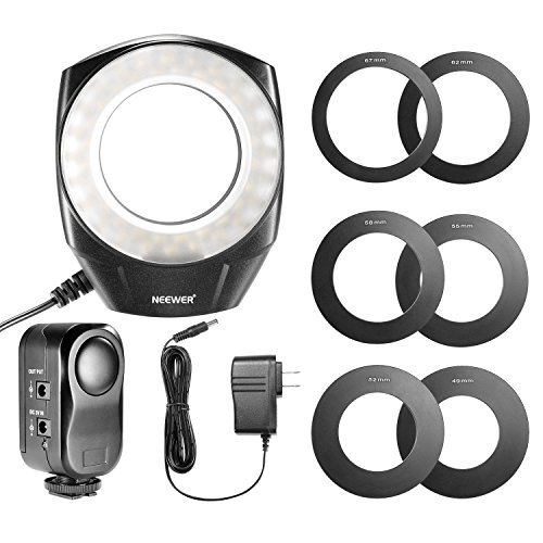 Neewer 48 Marco LED Ring Light with 6 Adapter Rings (49mm, 52mm, 55mm, 58mm, 62mm or 67mm) for Macro Canon/Nikon/Sony/Sigma/Tamron Lens by Neewer