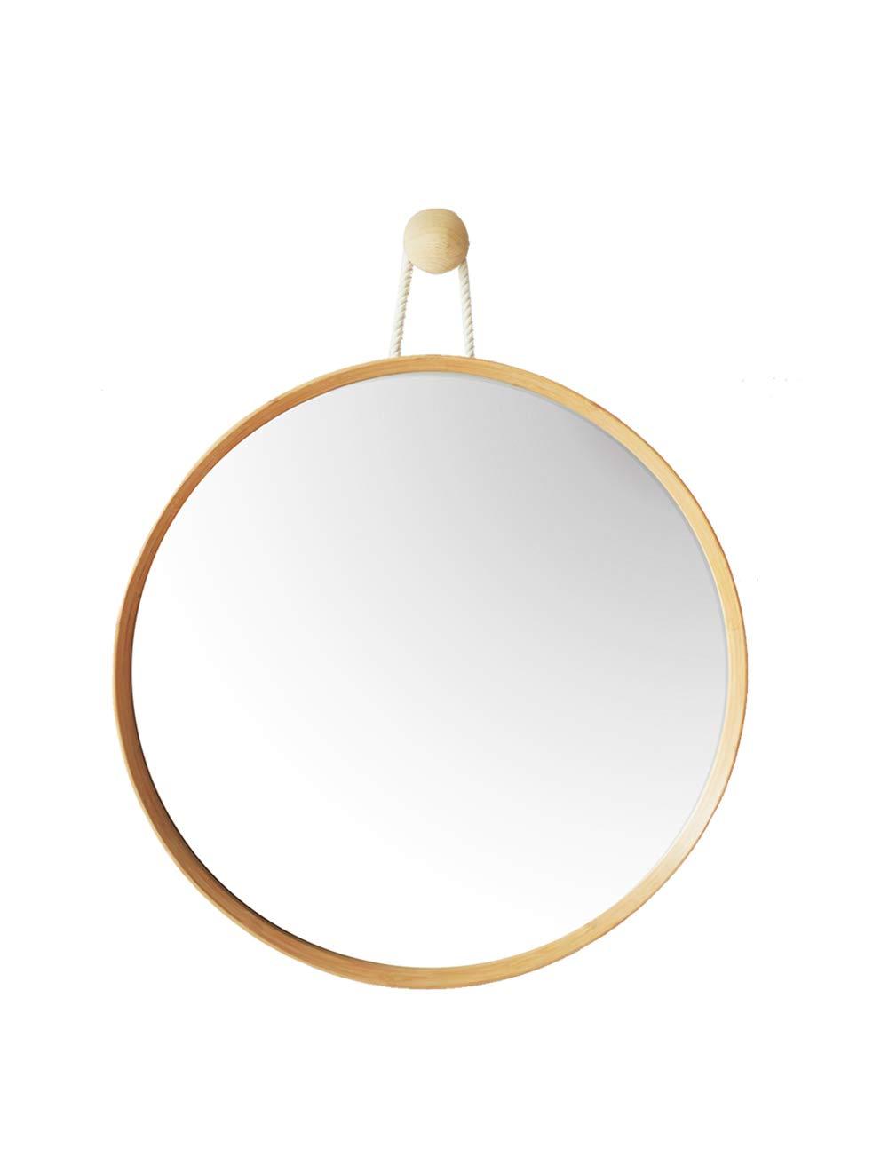 JTWJ 北欧のバスルームミラーラウンド竹製の化粧鏡バニティミラーラウンドミラーの壁のミラー簡単な装飾のミラー   B07QXH3TS1