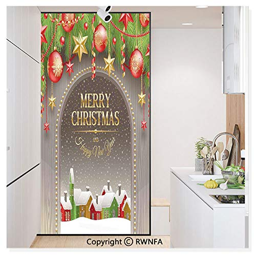 RWN Film Removable Static Decorative Privacy Window Films Classic Rustic Design Season Greetings Golden Letters Village Ornaments for Glass (17.7In. by 78.7In),Multi