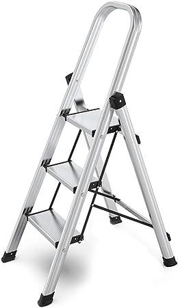 Taburete Escalera Taburete Plegable Escalera Plegable Deslizante de Seguridad del hogar Escalera de Aluminio Taburete con manija Portable 150kg Carga de Peso (Color : Silver): Amazon.es: Hogar