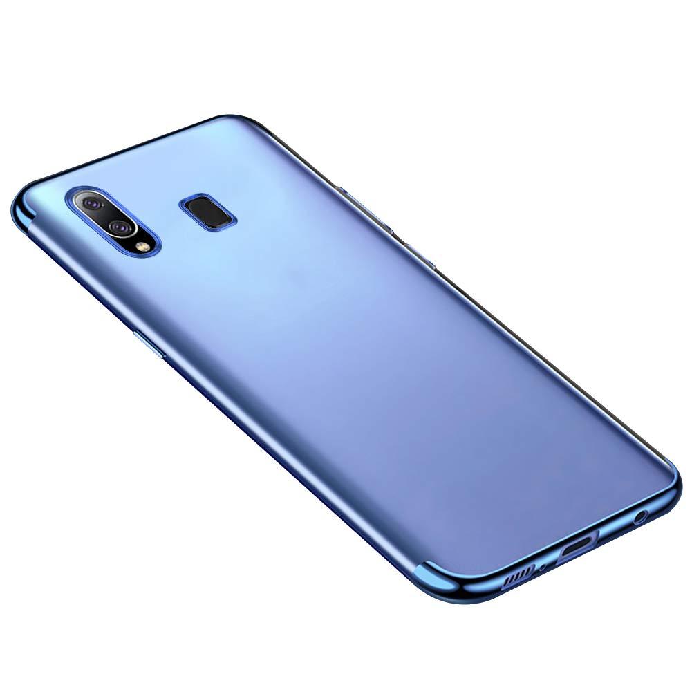 QPOLLY Coque Transparent Compatible avec Samsung Galaxy A20//A30 Crystal Clair Ultra Mince Souple Silicone Gel TPU Bumper Bordure Color/ée de Placage Antichoc Housse /Étui de Protection,Or Rose
