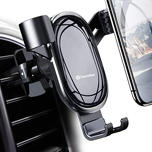DesertWest Cell Phone Holder for Car, Hands-free Air Vent Car Mount Holder Compatible with iPhone XR Xs Max Xs X 8 7 6 Plus, Samsung Galaxy S10 S10+ S10e S9 S8 S7 LG Google etc. ()