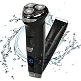 Cheap Ceenwes Electric Razor Hair Clippers Rechargeable Electric Shaver Cordless Clippers Hair Trimmer Waterproof Mens Electric Razor Wet & Dry Rotary Shavers with 4 Guide Combs for Men Kids Babies