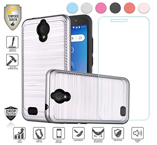 Compatible for At&t Axia QS5509a Case, Cricket Vision Case, with Tempered Glass Screen Protector, Premium Tough Armor Shield Metallic Brushed Design Hybird [Shockproof] (Silver)