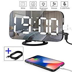Digital Alarm Clock,Mirror Digital Clock with 6.5 Large LED Display, Alarm Clocks for Bedrooms,Modern Led Clock with Dual USB Charger Ports,Easy Snooze Function   Diming Mode   Adjustable Brightness