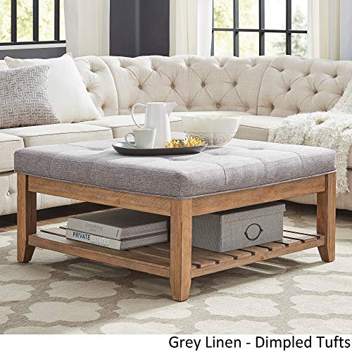 Inspire Q Lennon Pine Planked Storage Ottoman Coffee Table by Artisan Grey [Grey Linen]- Dimpled Tufts (Pine Tables Storage Coffee With)