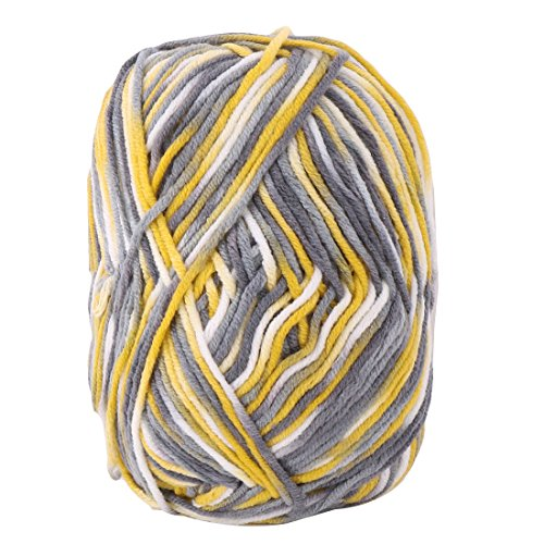 uxcell Cotton Blends Home Handmade Crochet Scarf Gloves Sweater Knitting Yarn Cord 50g Yellow Gray