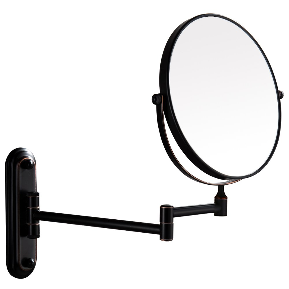 Gecious Wall Mount Vanity Makeup Magnifying Mirror,Black,1x/10x magnification,360°Swivel 12'' Extension Two-Side Retractable Oil Rubbed Finish,8-Inch by Gecious (Image #6)