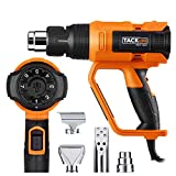 1600W Heat Gun,Tacklife Hot Air Gun 122℉~1112℉ (50℃~600℃),Adjustable 7 Heat Levels with 3 Temp-settings, Four Nozzle Attachments,Working Hours up to 500 Hours for DIY, Stripping Paint, Shrinking PVC| HGP73AC