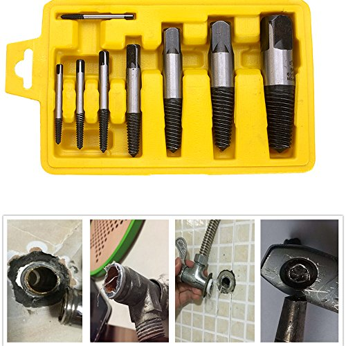 Screw Extractor Set, 8PCS Damaged Screw Broken Bolt Water Pipe Remover Set, Tool Box for Home, Renovation, Automotive Mechanics, Carpenters and Construction Workers by BESTIRTOOL (Image #1)