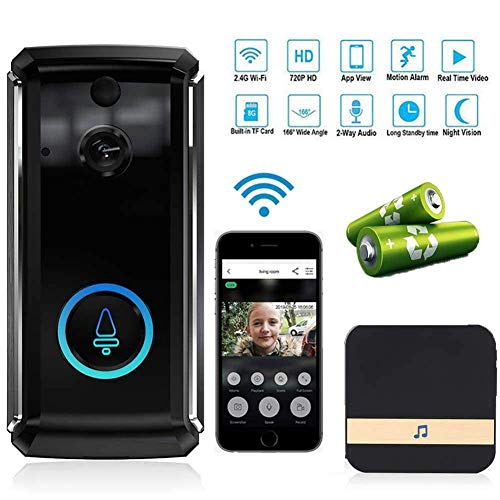 FDURU WiFi Smart Wireless Home Video 2-Way Talk Night Doorbell Security Camera Indoor Chime Vision PIR Motion Detection APP Control