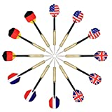 Tip Darts, Arespark 12 Packs Steel Tip Darts with National Flag Flights (4 Styles) - Stainless Steel Needle Tip Dart with 3 Free PVC Dart Rods