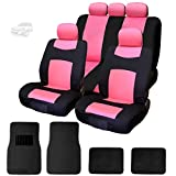 NEW YupbizAuto 13 Pieces Performance Design 2 Tone Black and Pink Polyester Cloth Logo Front and Rear Car Seat Covers with 4 Black Color Carpet Floor Mats Set Support 50/50, 60/40 Rear Split Seat