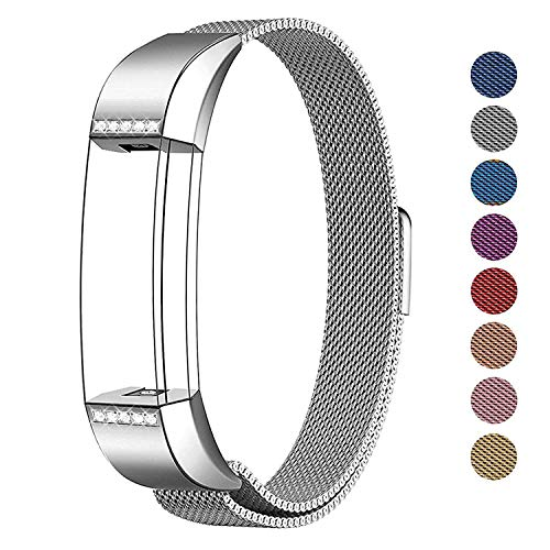SWEES Metal Bands Compatible Fitbit Alta & Fitbit Alta HR, Milanese Stainless Steel Metal with Diamond Dressy Design Replacement Accessories Small for Women, Silver, Rose Pink