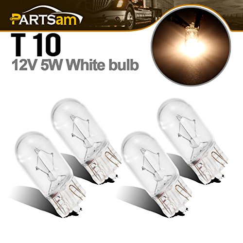 Partsam 4 x W5W 12V 5W Side Light Car Clear Bulbs T10 501 Bulb Lamps Front Yellow Light