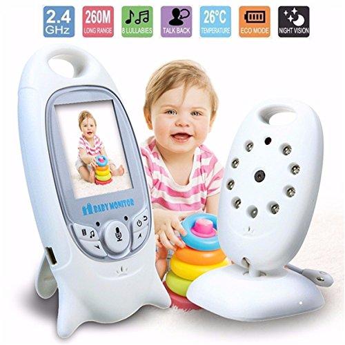 INSMA Baby Monitor Wireless Live Camera, Talk-Back Two-Way Audio, Night Vision Temp Sensor, Long-rang Signal, Built-in Lullaby Comfort baby, 2' LCD Screen, Long life Baby Camera Keep An Eye on Baby